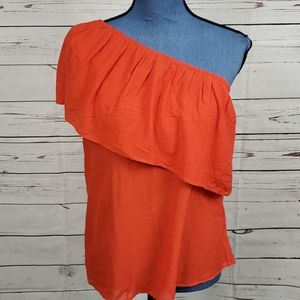 NWT Orange H&M One Shoulder Blouse